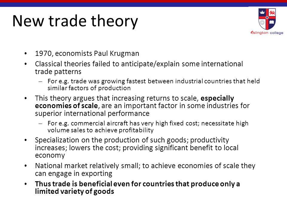 new trade theory international trade operations How can this help us conduct international business 12,18,25,27,34,40,45 1 2 3 trade theory and government policy  new trade theory and porter's theory of national.