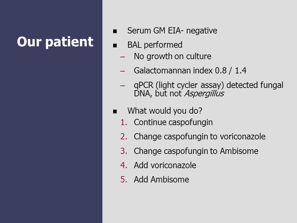 Our patient Serum GM EIA- negative BAL performed No growth on culture