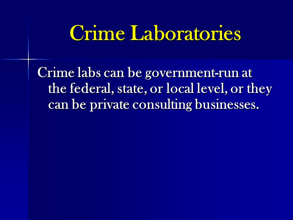 coroner and crime laboratories Forensic facilities and the operations they house, both medical examiners and crime laboratories, are important components of a community's infrastructure natural disasters have the potential to cripple or destroy the buildings that support these operations making sure that forensic buildings operate through or are quickly available after an event is resiliency.