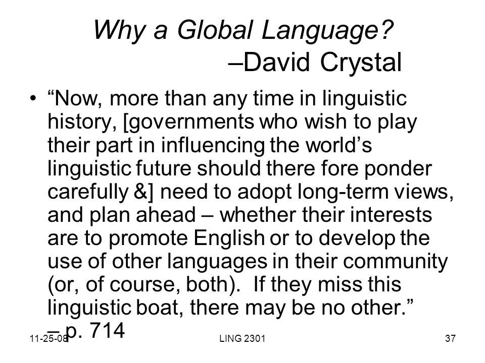 English As A Global Language Ppt Download - Global language course