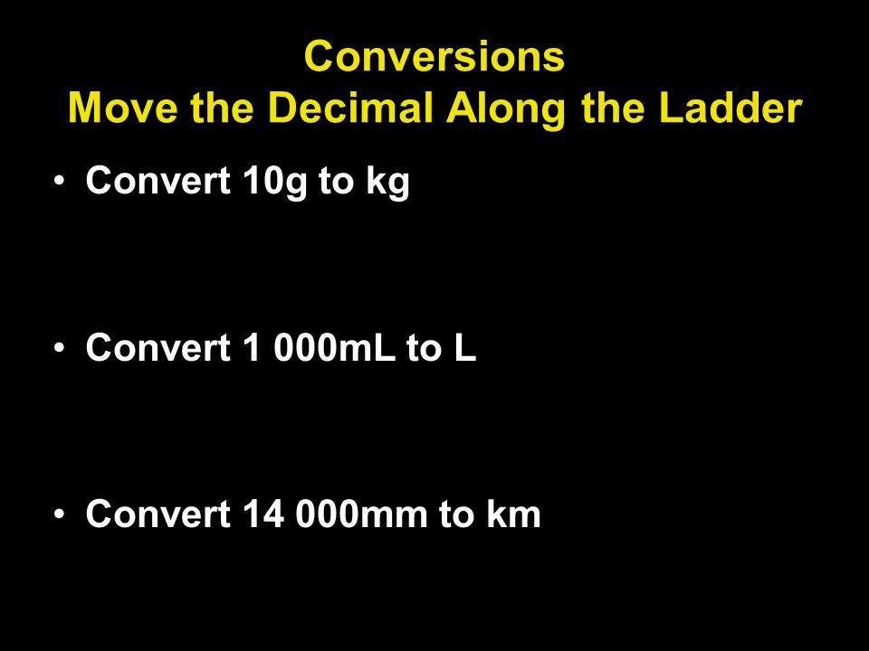 Conversions Move the Decimal Along the Ladder