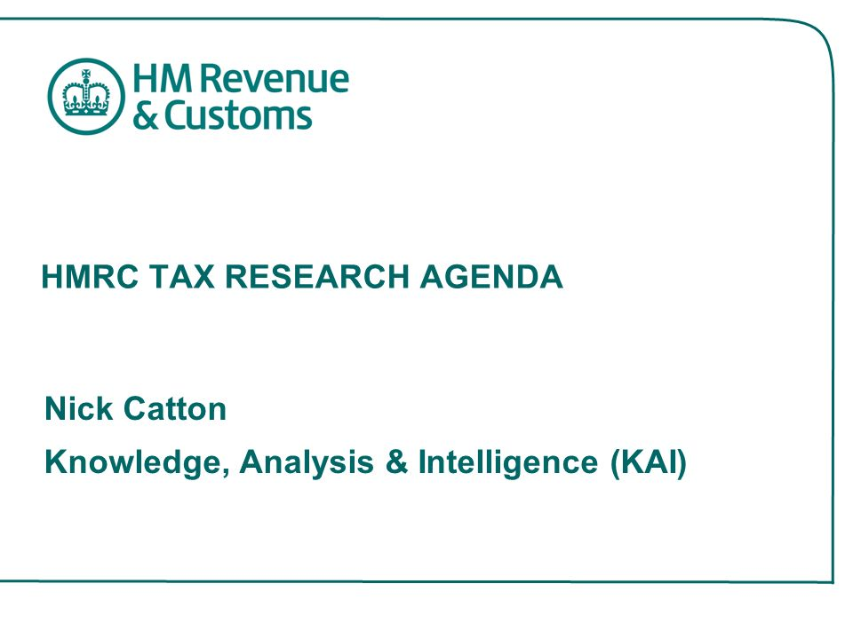 HMRC TAX RESEARCH AGENDA