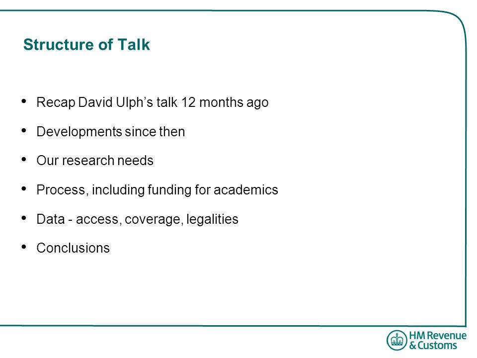 Structure of Talk Recap David Ulph's talk 12 months ago