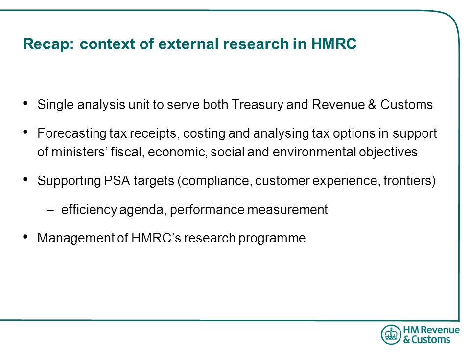 Recap: context of external research in HMRC