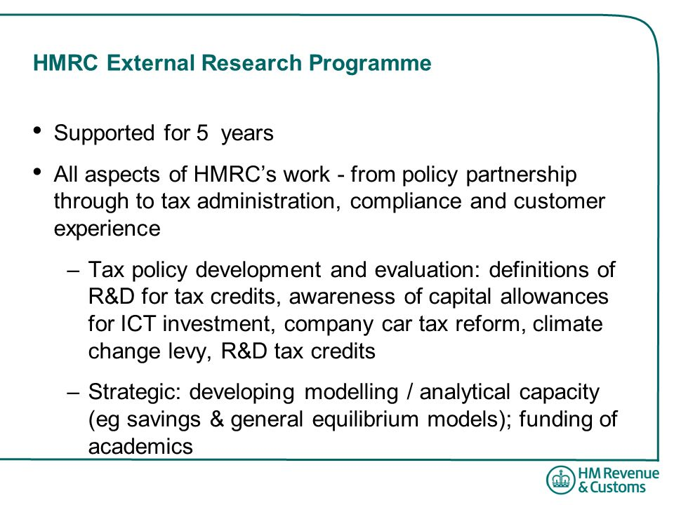HMRC External Research Programme