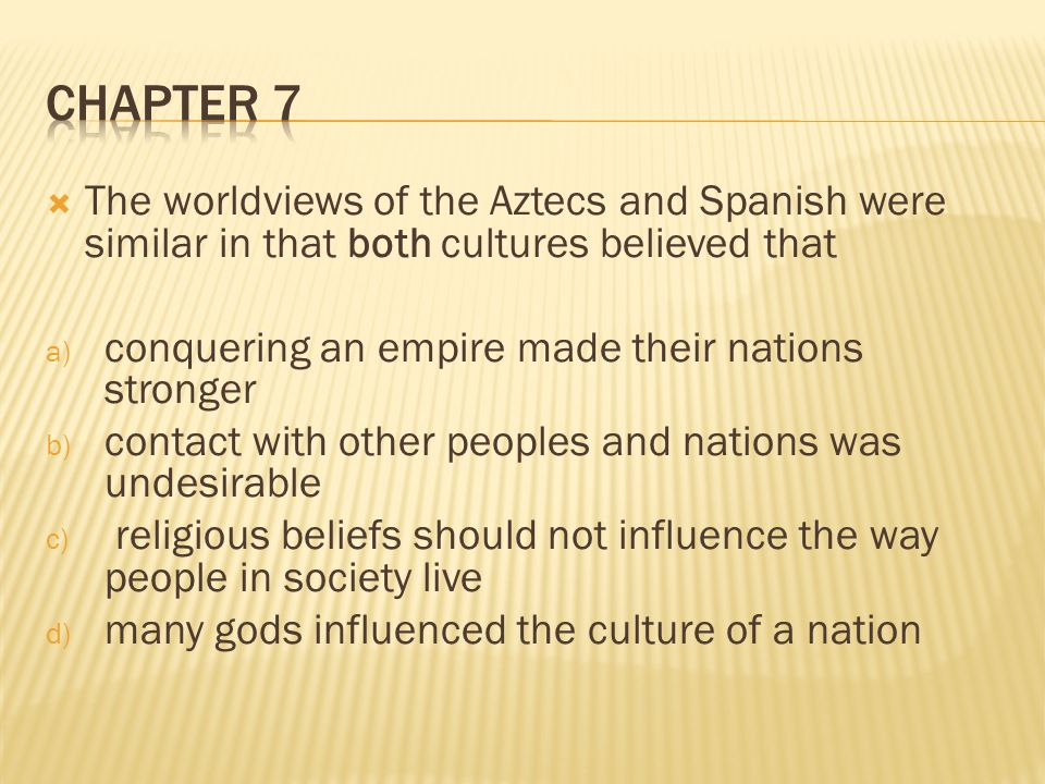 an analysis of the aztecs and the spaniards Comparing the aztecs and the analysis of two mesoamerican religions incas essay - aztecs: incas at the time the spaniards arrived to the new world.