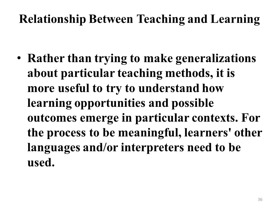 relationship of teaching and learning