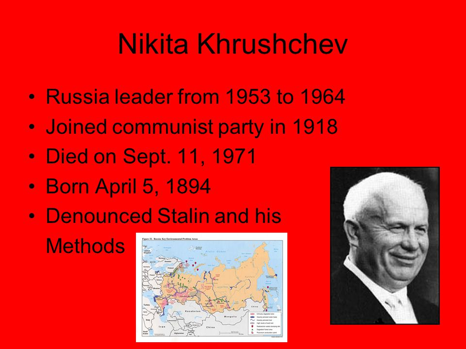 Nikita Khrushchev Russia leader from 1953 to 1964