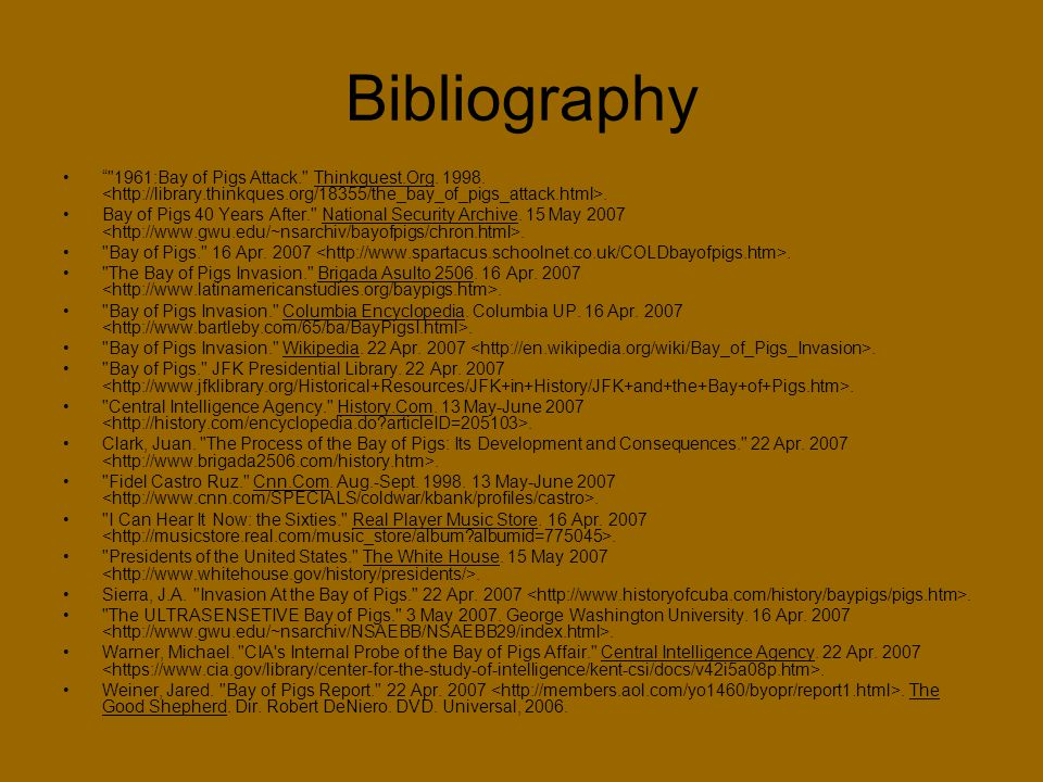 annontated bibliography bay of pigs Free bay of pigs papers, essays, and research papers  the south bay water  recycling agency, annotated bibliography - annotated bibliography about.