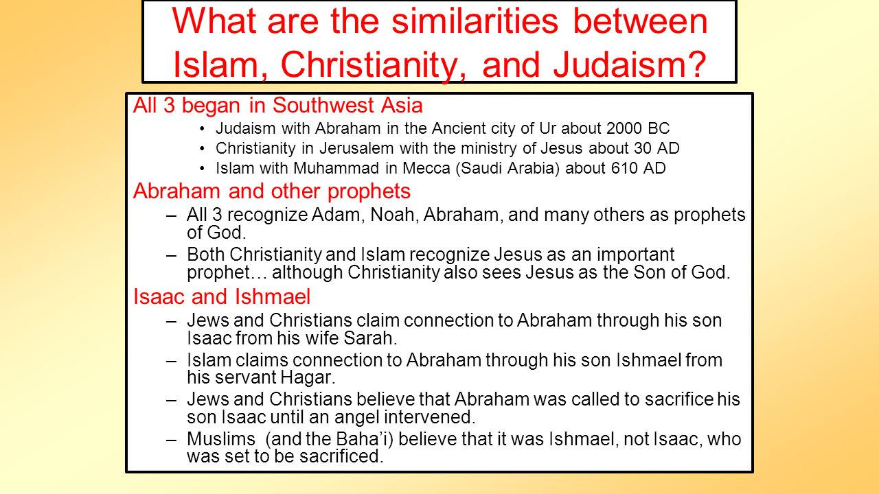 similarities of judaism islam and christianity essay Define monotheism and summarize the beliefs of judaism, christianity, and islam name the sacred text of each of these religions identify the three parts of the holy trinity and the five pillars of.