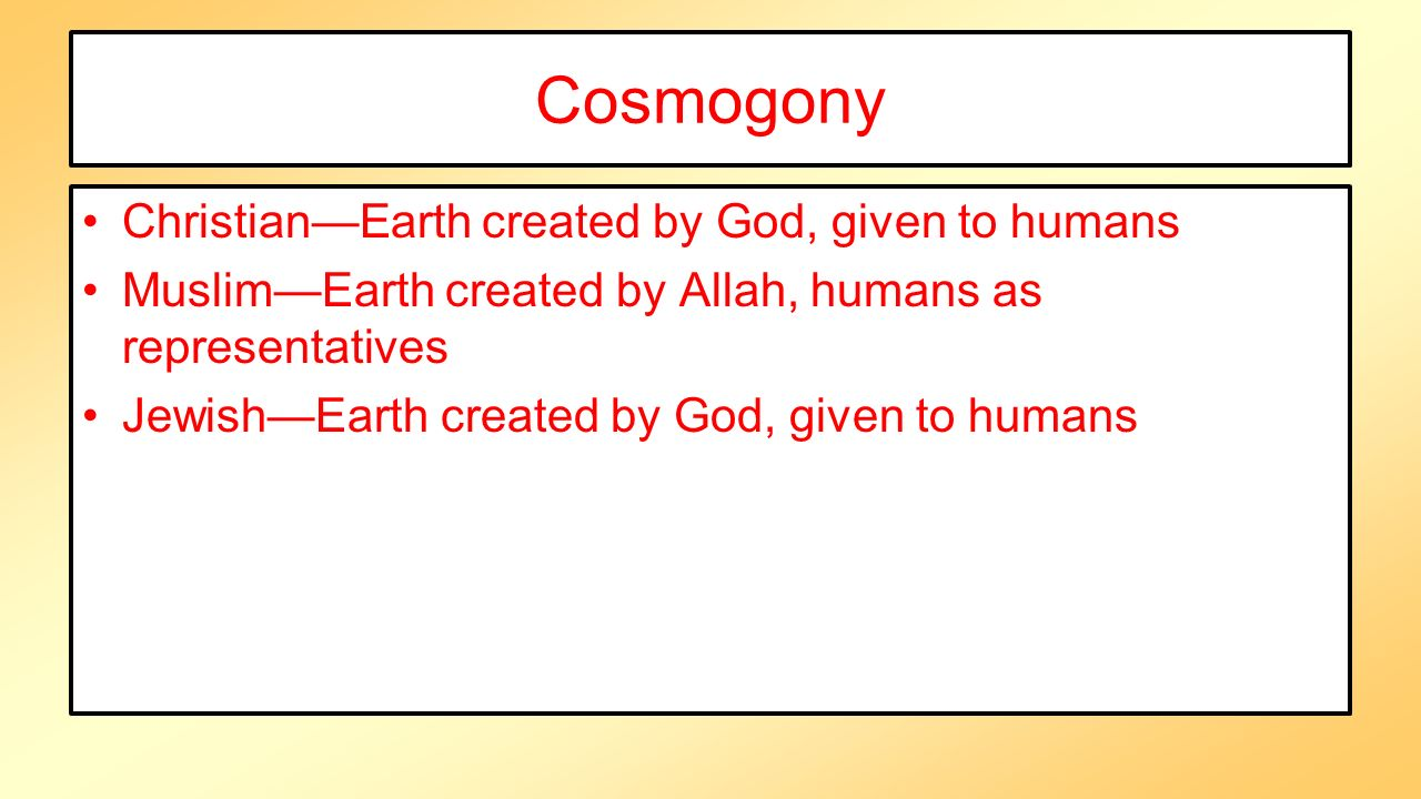 Cosmogony Christian—Earth created by God, given to humans