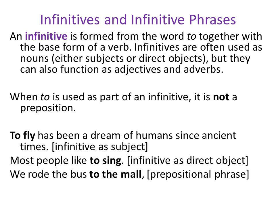 forms of a verb that are used as different parts of speech ...