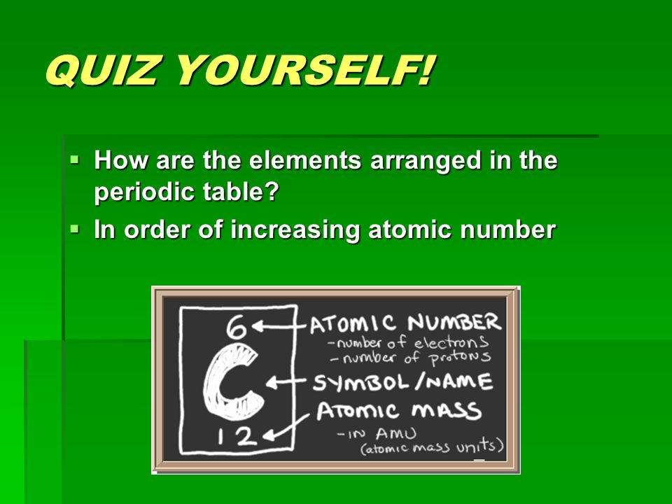 The modern periodic table ppt video online download quiz yourself how are the elements arranged in the periodic table urtaz Choice Image