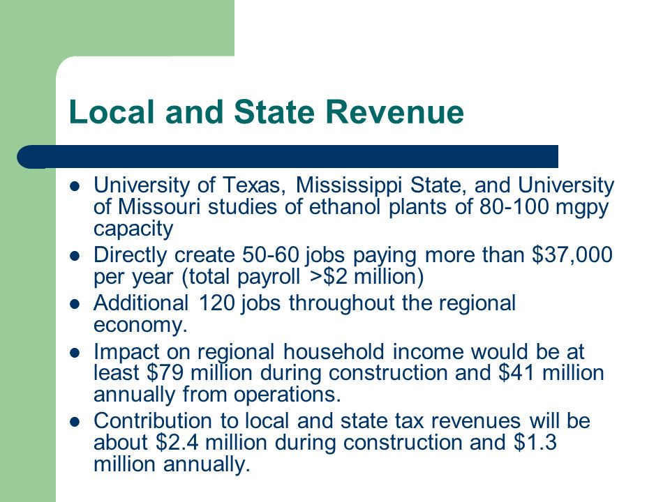 Local and State Revenue