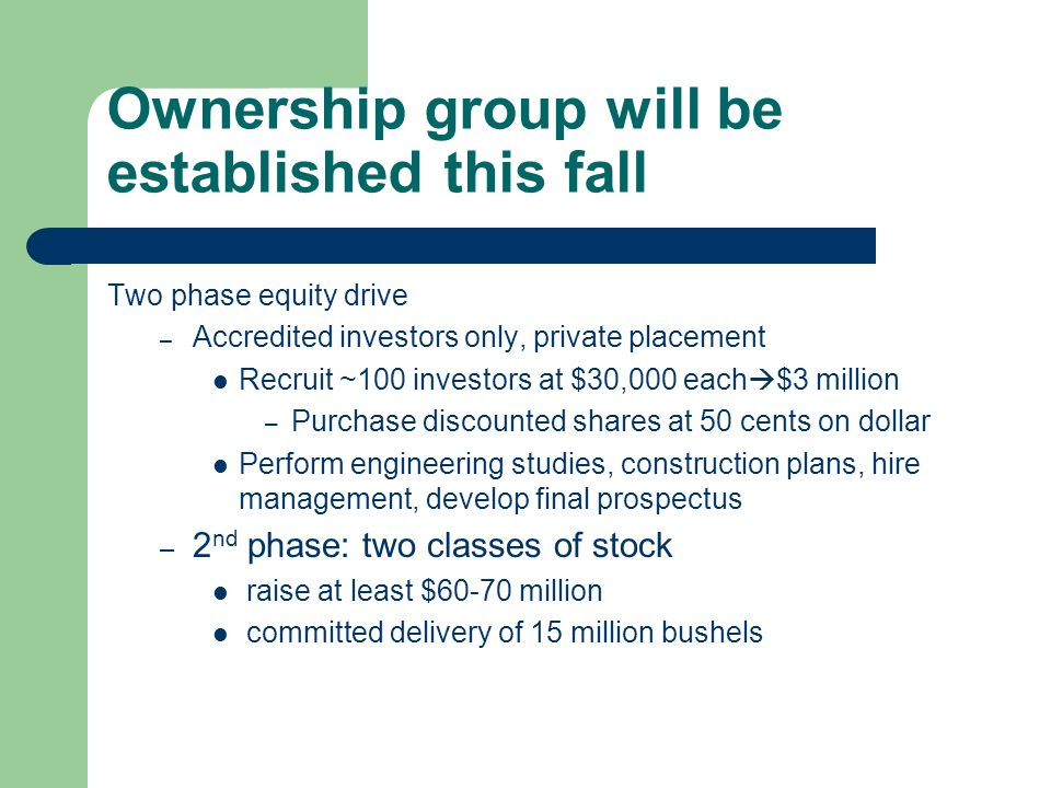 Ownership group will be established this fall