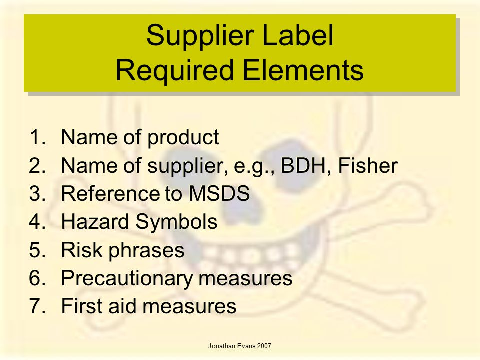 Supplier Label Required Elements