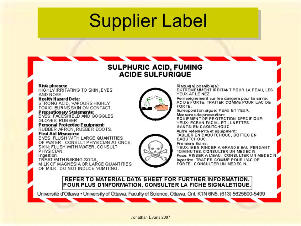 Supplier Label Jonathan Evans 2007