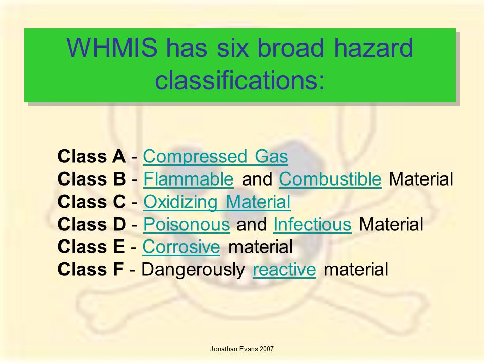 WHMIS has six broad hazard classifications: