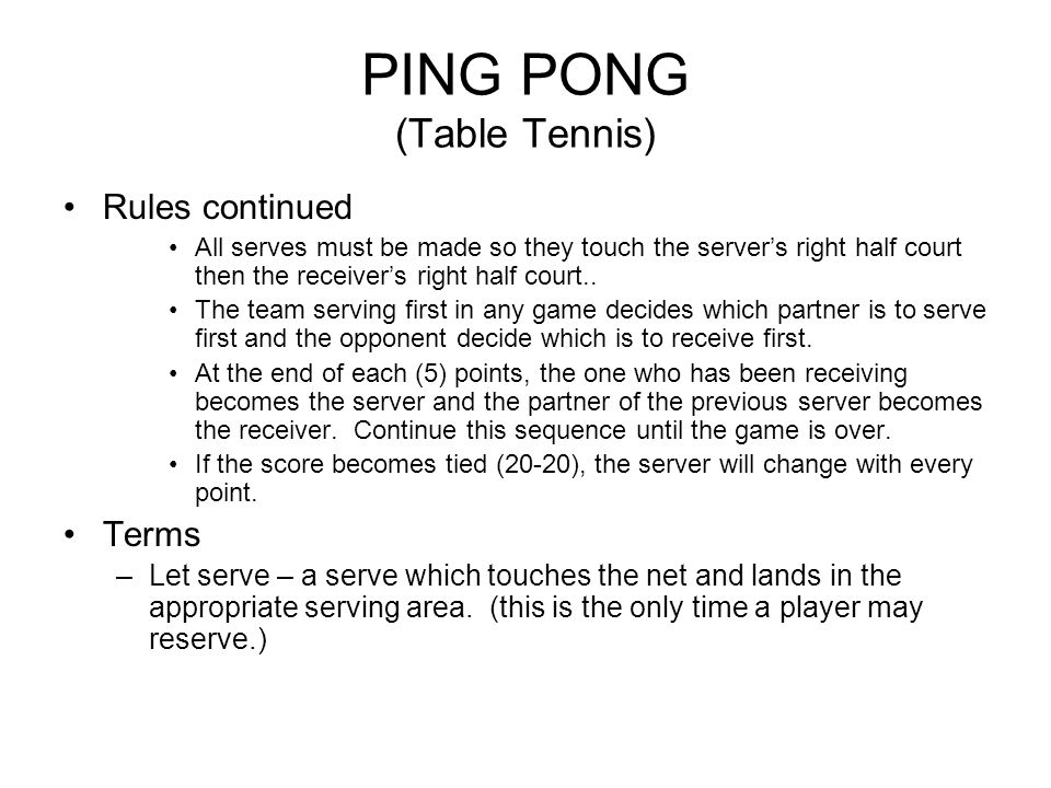 Ping pong table tennis ppt video online download for Table tennis serving rules