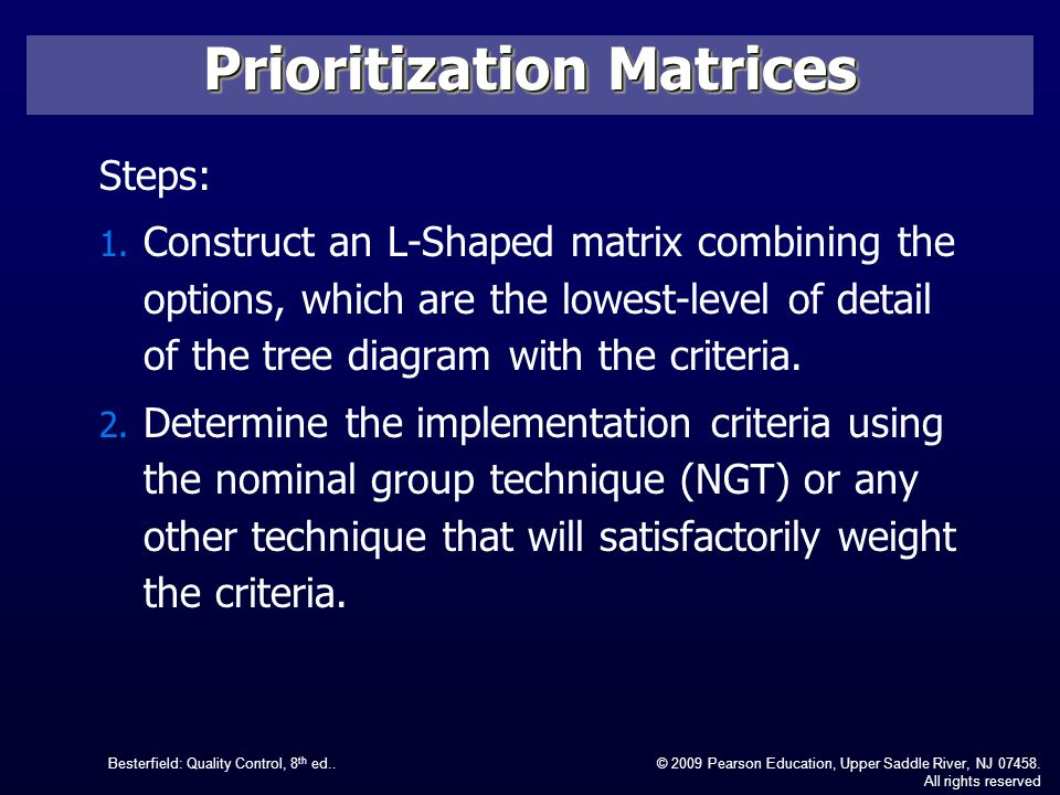 l shaped steps quality control chapter 12 management and planning tools ppt