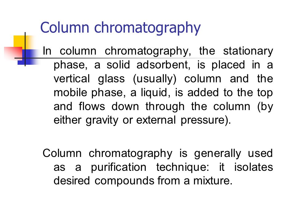 an experiment on the chemical purification of spinach through column chromatography Paper chromatography experiment and depending on the chemical properties of both teaching technical skills through video online course.