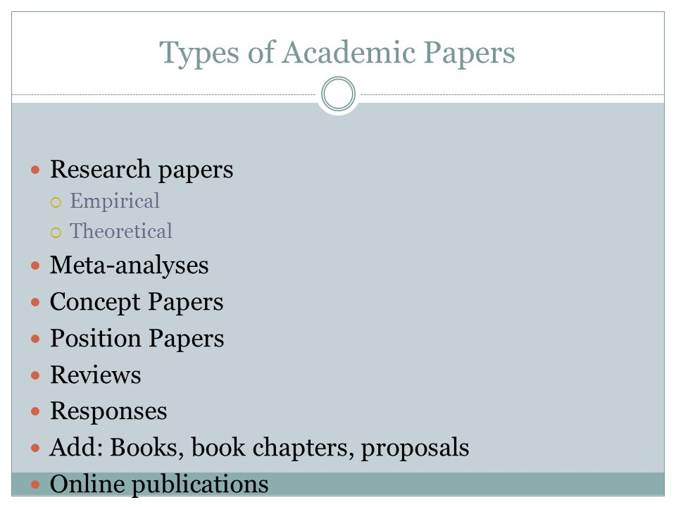 types of research papers review Guidelines for writing a review article a) good to know about review articles b) introduction of a new theory or model in a specific field of research types by.
