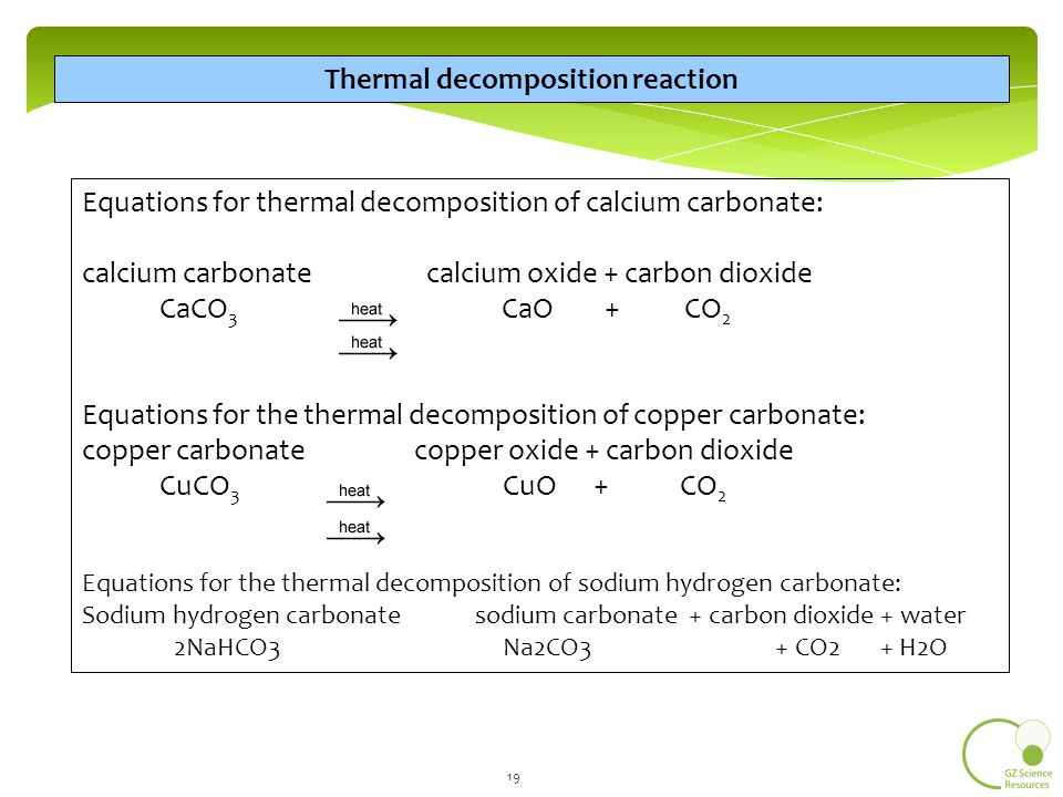thermal decomposition of sodium hydrogen carbonate Sodium bicarbonate is the chemical compound with the formula nahco3  because it has long been known  thermal decomposition above 60 °c, it  gradually.