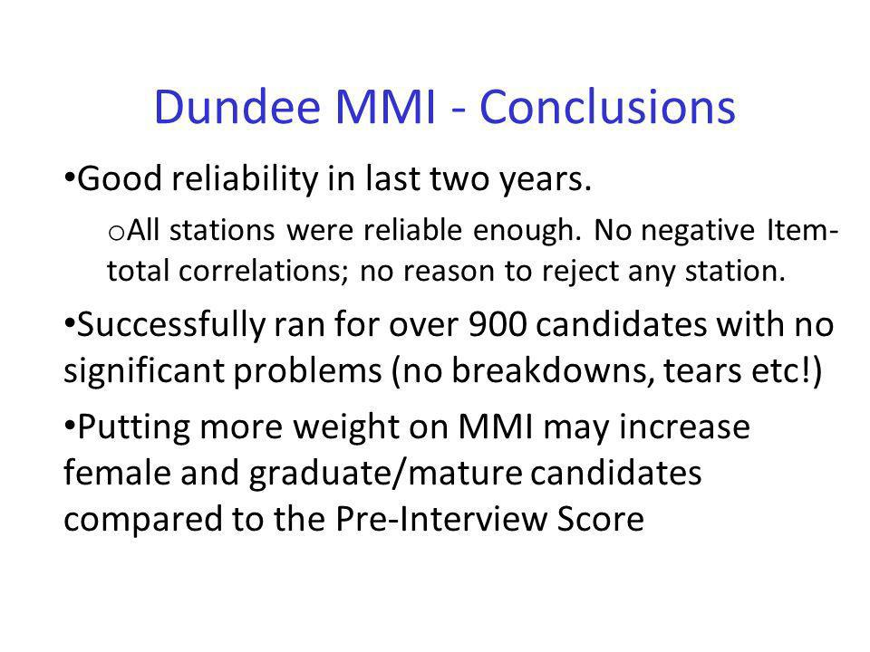 Dundee MMI - Conclusions