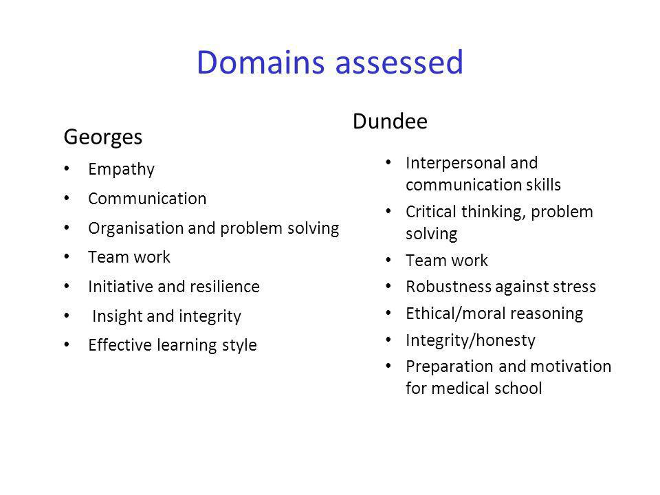 Domains assessed Dundee Georges Interpersonal and communication skills