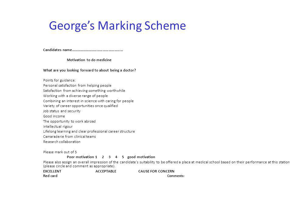George's Marking Scheme