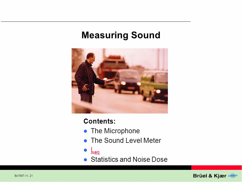 Measuring Sound Contents: The Microphone The Sound Level Meter Leq