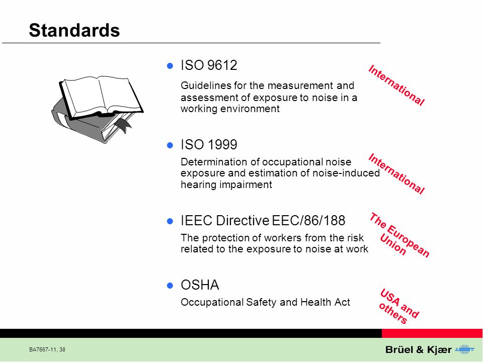 Standards ISO Guidelines for the measurement and assessment of exposure to noise in a working environment.