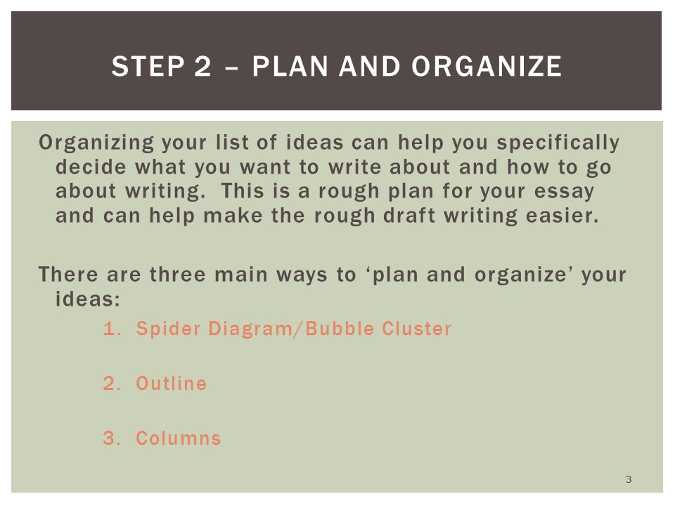 Step 2 – Plan and Organize