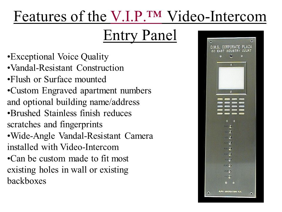 S.T.R. Apartment Video-Intercom System - ppt video online download