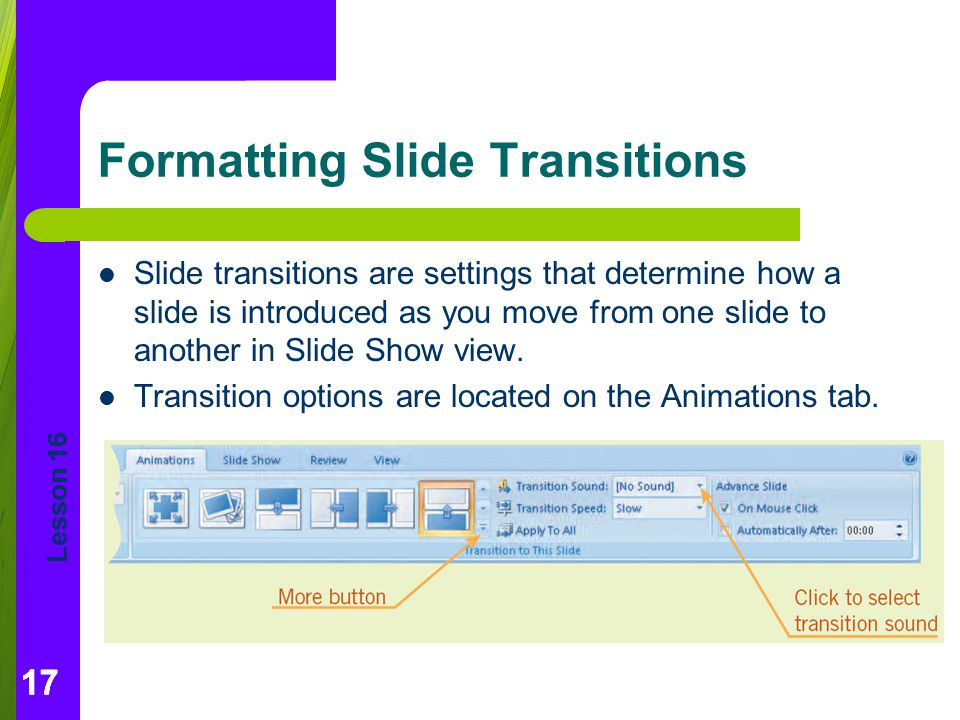 Formatting Slide Transitions