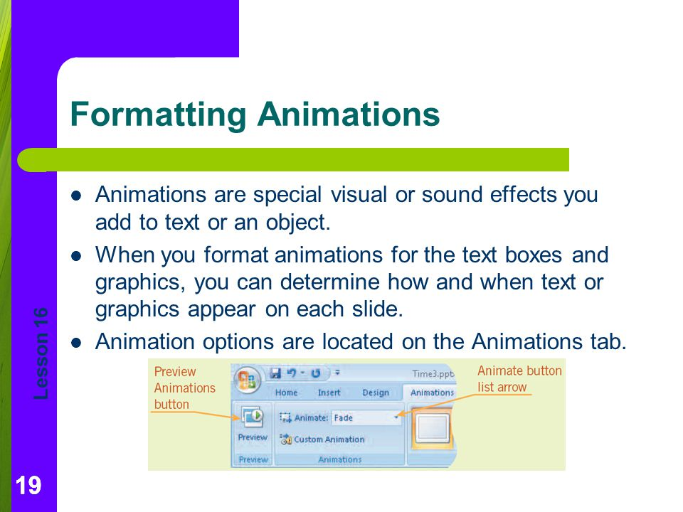 Formatting Animations