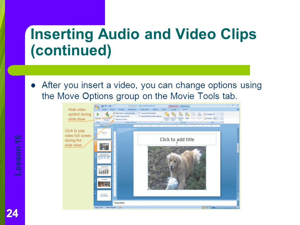 Inserting Audio and Video Clips (continued)