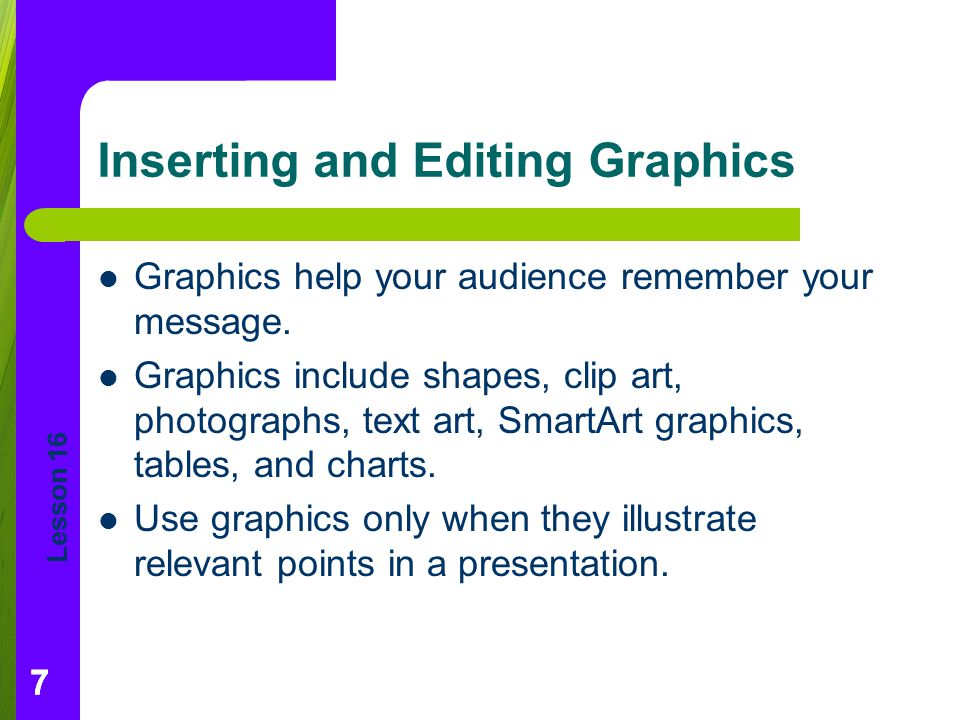 Inserting and Editing Graphics
