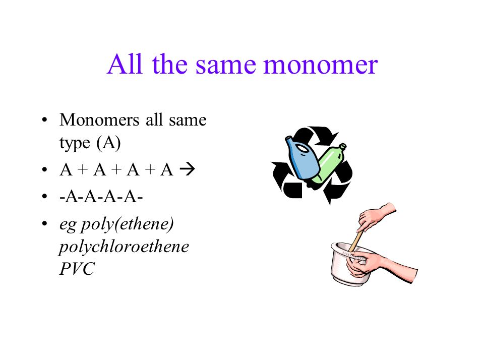 All the same monomer Monomers all same type (A) A + A + A + A 