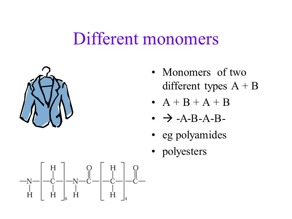 Different monomers Monomers of two different types A + B A + B + A + B