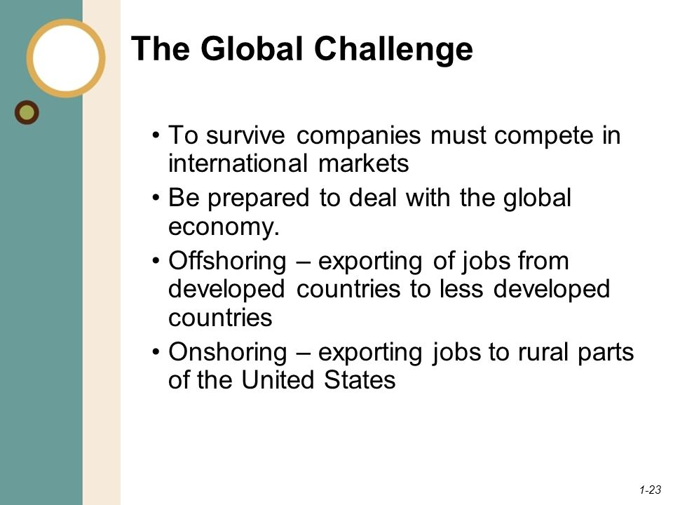 The Global Challenge To survive companies must compete in international markets. Be prepared to deal with the global economy.