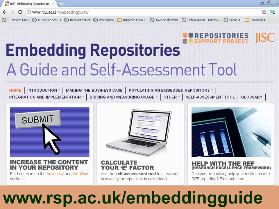 Over the past few years, there have been a number of JISC funded projects and other institutional initiatives which have focused the embedding of research repositories into organisational systems and workflows. The results have been documented in websites, blogs, conference presentations etc but they had not been synthesised into a coherent whole.