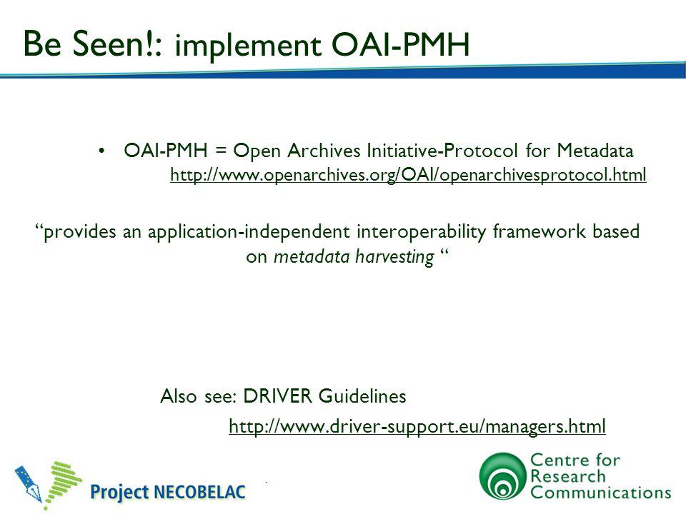 Be Seen!: implement OAI-PMH