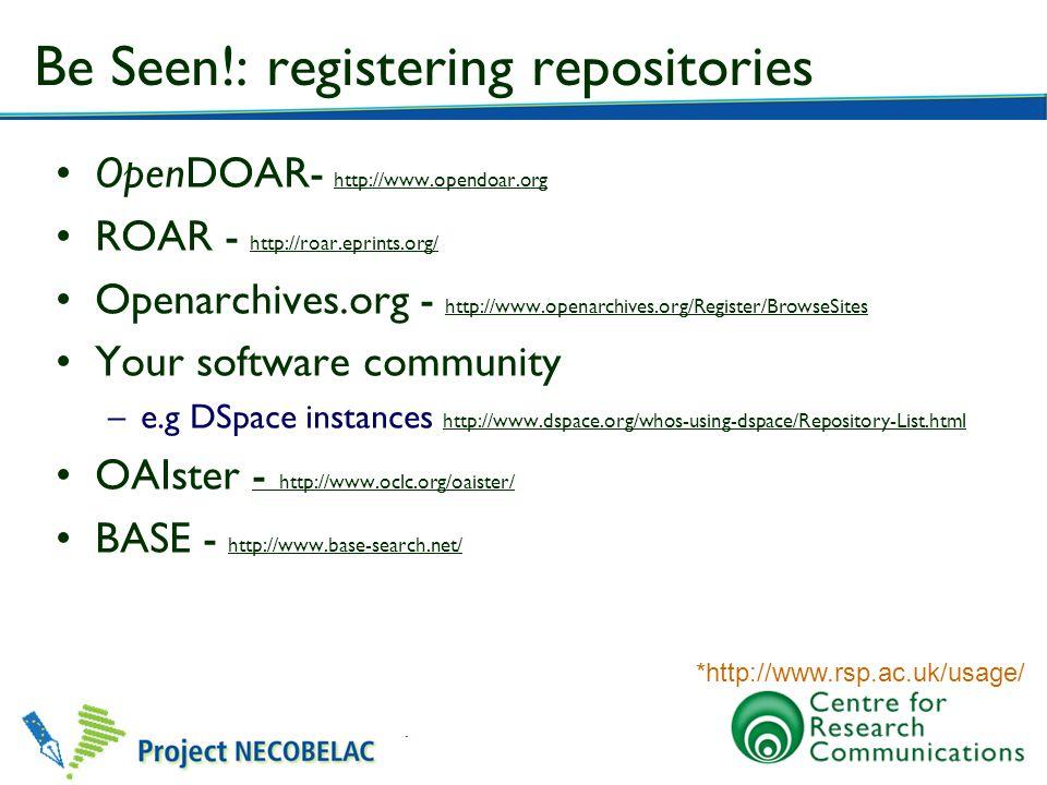 Be Seen!: registering repositories