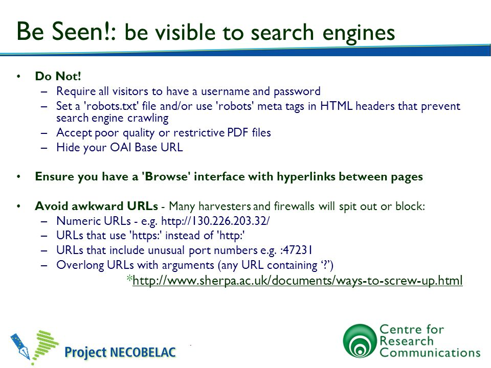 Be Seen!: be visible to search engines