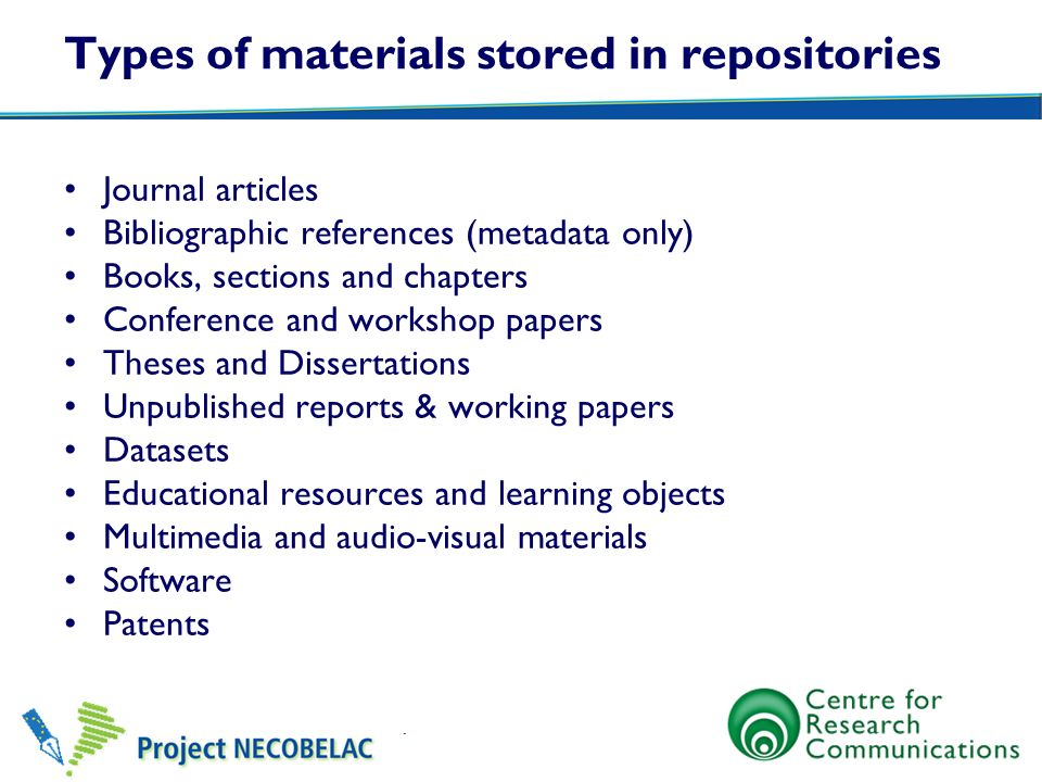 Types of materials stored in repositories