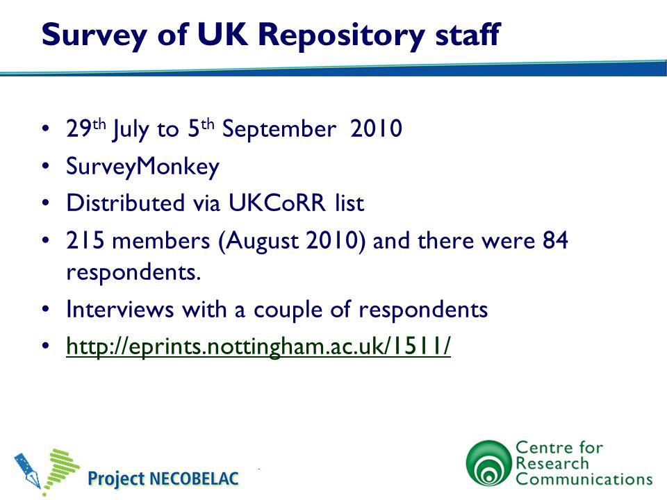Survey of UK Repository staff