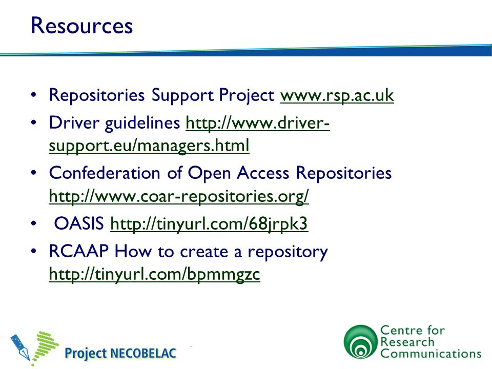 Resources Repositories Support Project www.rsp.ac.uk