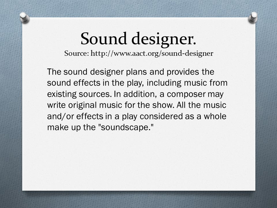 Assignment no1 p m d1 job roles within a production team for Sound designer jobs