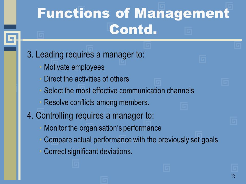 Functions of Management Contd.